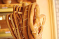 Pretzels fresh displayed on a wooden stand Stock Photo