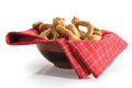 Pretzels image of basket full of large studio on white background Stock Photo