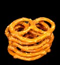Pretzels a stack of on a black background Stock Image