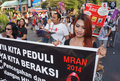 Prevent hiv aids activists moral action to in the city of solo central java indonesia Stock Images