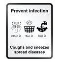 Prevent infection information sign public health isolated on white background Stock Photography