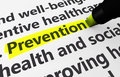 Prevention preventive healthcare concept with a d rendering of medical related words and text highlighted with a yellow marker Stock Images