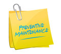 Preventive maintenance memo post sign concept illustration design over white Stock Photography