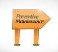 Preventive maintenance wood sign concept illustration design over white Stock Photo