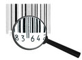 Preview of focus black grunge bar code symbol through magnifier lens art design isolated on white background Stock Image
