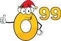 Prezzo da pagare numero con santa hat cartoon character Fotografia Stock Libera da Diritti