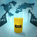 The price of oil barrel on world map with derricks and growth chart Royalty Free Stock Photo