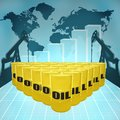 The price of oil barrels on world map with derricks and growth chart Stock Image