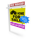 Price Reduced - Home for Sale Sign Stock Photos