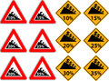 Price reduction as a traffic sign road for dangerous downhill Stock Photos