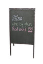 Price tag blackboard of menu wine isolated on white background Royalty Free Stock Photography