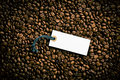 Price tag on coffee beans top view of Stock Images