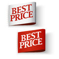 Price tag labels best price message set red and white Stock Photography