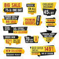 Price tag, promo banners and discount labels. Business presentation design vector elements