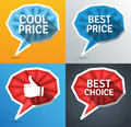 Price tags speech bubble elements with promo text and long shadows eps Stock Photography