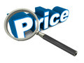 Price under lens concept of checking comparing and scrutinizing before buying decision Royalty Free Stock Images