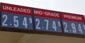 The price of unleaded mid grade and premium gas a city refueling vehicle service station advertises it s prices Royalty Free Stock Images