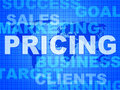 Pricing words means money outlay and finances indicating priced pay evaluate Stock Image