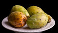 Prickly pear cactus four tasty fruits served on a plate Royalty Free Stock Photography