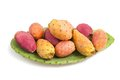 Prickly pears with leaf isolated on white Royalty Free Stock Photos