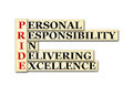 Pride acronym conceptual personal responsibility in delivering excellence Royalty Free Stock Images