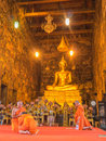 Priest is chanting in Wat Suthat Thep Wararam