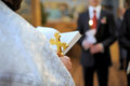 Priest holding cross bible wedding ceremony Stock Photos