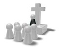 Priest simple pastor figure christian cross symbol and crowd d illustration Royalty Free Stock Photo