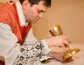 Priest at tridentine mass transfiguration with the cap Royalty Free Stock Photo
