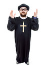 Priest young man dressed as full length isolated on white Stock Photos