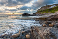 Priests cove cape cornwall sunset at england uk europe Royalty Free Stock Images