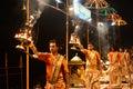 Priests at ganga aarti varanasi Royalty Free Stock Photo