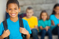 Primary school boy cheerful african american with backpack Royalty Free Stock Photo