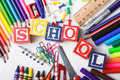 Primary school stationery Royalty Free Stock Images