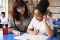 Primary school teacher with a schoolgirl in class, close up Royalty Free Stock Photo