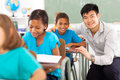 Primary teacher student portrait of happy helping in classroom Royalty Free Stock Photos