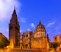 Primate cathedral of saint mary in toledo spain twilight time Royalty Free Stock Photos