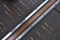 The prime meridian a close up view of in greenwich england Royalty Free Stock Image