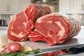 Prime rib roast raw beef in the kitchen Stock Photography