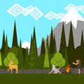 Primitive hunting in the woods flat style vector Royalty Free Stock Photos