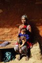 Primitive tribe bastar chhattisgarh madhya pradesh india asia a tribal woman holding her grandchild Stock Image