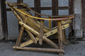 Primitive wooden chair on thge market in nyaunshwe in myanmar burma Royalty Free Stock Image