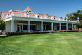 Primm valley golf course clubhouse nevada usa april a stately and lush lawn welcomes tournament players to in nevada Royalty Free Stock Photos