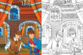 Prince in the castle chamber - two men talking - prince or king and the servant - good looking manga men - with coloring page