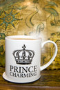 Prince charming cup of tea Stock Image