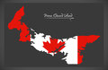 Prince Edward Island Canada map with Canadian national flag
