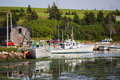 Prince edward island fishing boats tied up at the wharf Stock Photography