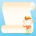 Prince with parchment paper cartoon character Stock Photo