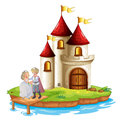 A prince and a princess with a castle at the back illustration of on white background Stock Photography