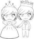 Prince and princess coloring page vector illustration of a holding hands smiling Stock Images